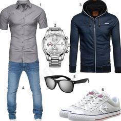 Männer-Outfit mit kurzärmeligem Hemd, Songdu Armbanduhr, Bolf Hoodie, grauem Sonnenbrille, Wotega Jeans und Converse Schuhen.