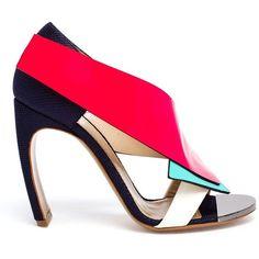 Nicholas Kirkwood Geometric Paneled Sandals ($1,138) ❤ liked on Polyvore featuring shoes, sandals, heels, blue, mirror shoes, nicholas kirkwood shoes, geometric shoes, blue sandals and neon pink sandals