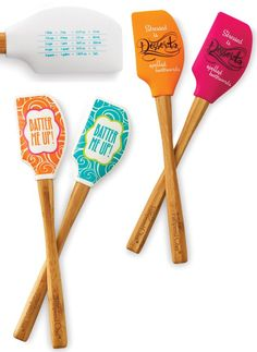 Add some color to your kitchen w/ Batter Me Up/Stressed Is Desserts Bamboo Scrapers!  New from The Pampered Chef Spring Summer 2014 Catalog