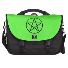 Green with Black Pentacle Commuter Laptop Bag www.cheekywitch.com #zazzle #laptop #laptopbag #bags #green #lime #pentacle #pentagram #witch #wicca #wiccan #pagan #cheekywitch