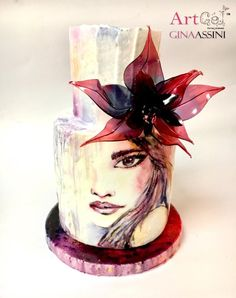 Cake painted with Royal icing, flower made with ArtGel a new jelly compound for artistic decorations Beautiful Cake Designs, Beautiful Cakes, Amazing Cakes, Cake Icing, Eat Cake, Cupcake Cakes, Pretty Cakes, Cute Cakes, Bolo Russo