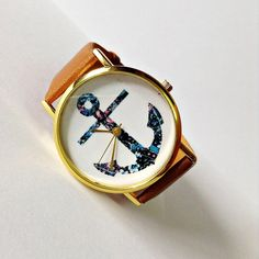 Anchor Watch, Nautical watch, Vintage Style Leather Watch, Women Watches, Unisex Watch, Boyfriend Watch, White, Tan, on Etsy, $10.00