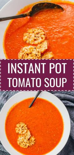 This is a quick and easy tomato soup with basil made in the Instant Pot! It tastes creamy and hearty, but uses no cream and is low calorie. It's also great for low carb, keto, and vegetarian diets. This simple recipe uses canned tomatoes and jarred roasted peppers to minimize prep time. It uses a pinch of crushed red pepper for a slightly spicy taste. Serve with healthy sides like parmesan crisps. #healthy #lowcarb #keto #vegetarian #instantpot / pressure cooker recipes / homemade soups
