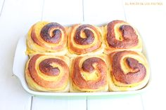 El rincón de los postres: Rollitos de crema Baked Goods, Sweet Recipes, French Toast, Sweets, Snacks, Chocolate, Baking, Breakfast, Ethnic Recipes