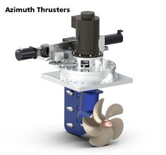 An azimuth thruster is a configuration of marine propellers placed in pods that can be rotated to any horizontal angle (azimuth), making a rudder unnecessary. These give ships better manoeuvrability than a fixed propeller and rudder system.
