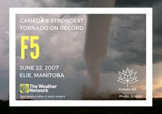 The F5 tornado that touched down in Elie, Manitoba, on June 22, 2007, remains Canada's most powerful on record, with wind speeds in the 420-510 km/h range.   Though it destroyed several buildings, no one was killed, as most residents were away attending a high school graduation ceremony, and those that remained got into shelter quickly.  Great  fact 142/150 #Canada150