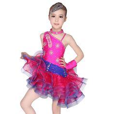 >> Click to Buy << Girls Kids Unequal Rhinestone Stage & Dance Wear Lovely Puffy Tulle Latin Dress Modern Ballroom Latin Rumba Dancing Clothing #Affiliate