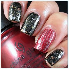 KBShimmer Band Geek & China Glaze Cranberry Splash-- Like these two colors and mixtures together- could do on acrylic tips