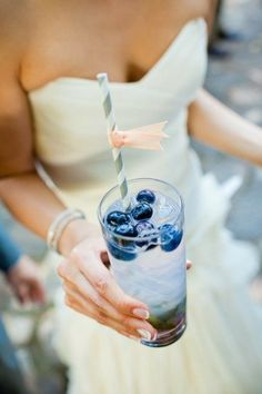 Blueberry Cocktail + Striped Straws, blue and white wedding ideas, special drink menu, reception cocktail hour