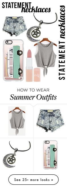 """""""Swag Necklace Outfit"""" by ariannaskypotter on Polyvore featuring Casetify, Rimmel and statementnecklaces"""