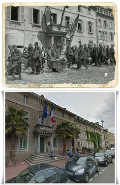 Colonna di prigionieri Tedeschi transitano davanti  municipio di Cherbourg  Place de la Republique  #NORMANDIA1944