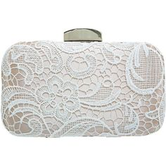 Miss Selfridge Lace Hard Clutch ($50) ❤ liked on Polyvore