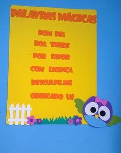painel de palavras mágicas ou palavras encantadas Corujas www.petilola.com.br