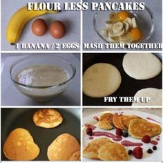 Banana/Egg Pancakes. Just 2 ingredients. You can add cinnamon or other fruits if you want. Low calorie. They are also gluten free! They're great for people trying to cut down their starches, they are also quick and cheap! Ingredients in Flour Less Pancakes * 2 Eggs and 1 banana(I use 1 egg, 2 whites) , that's it! Fitness …