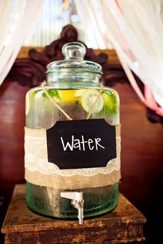 rustic chic drink station decor ~Photographer: Sarah Kathleen
