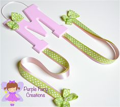 Initial Letter Hair Accessories Organizer - Baby Pink and Sage Green (Hair Bow and Headband Holder) Baby Girl, Girl or Teen Room Wall Decor (Organizador de Accesorios del Cabello / Pelo para Niña) by PurpleFairyCreations on Etsy, $12.00