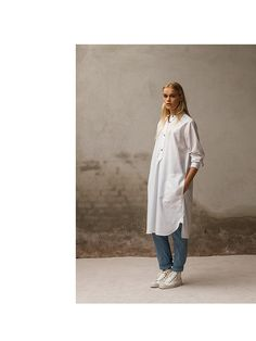 Baby denim tapered pants with white long shirt. Pluto - On the Moon