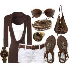 combinación remera y pantalón (blanco-marrón)