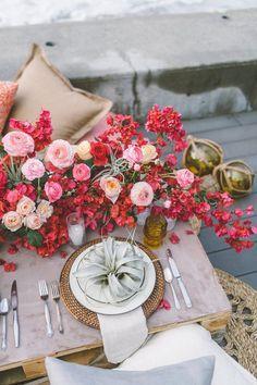 Bright beach wedding tablescape