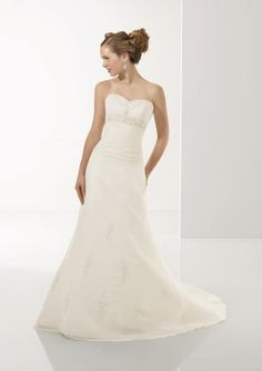Ivory Strapless Embroidery Chiffon A-line/princess Wedding Dress