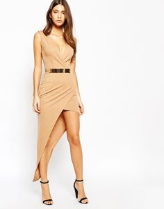 Image 4 ofNaaNaa Plunge Neck Sleeveless Belted Pencil Dress With Asymmetric Wrap Skirt