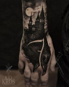 Terrific haunted house tattoo. Most BOO-tiful Halloween tattoos are here to help you get ready for the most terrifying day of the year! Enjoy!
