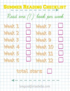 #Free Printable Summer Reading Checklist for Kids!
