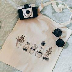 Handmade Cactus and Plants Tote Bag