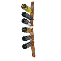 Single Barrel Stave Wall Rack Bring home the casual elegance of your favorite winery with this wall mounted wine rack made from aged oak barrels, each used in wine production for 2 - 5 years. You'll feel doubly good knowing that each item comes from 100% recycled barrels, so your great taste is also great for the planet! This single stave rack holds 6 bottles of wine, and comes with screws included for easy mounting on your wall.
