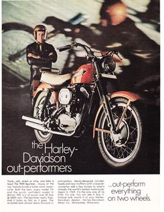 An original 1969 advertisement for the Harley Davidson Sportster 900cc. A photo print of a man proudly standing next to his ride. Detailing new details. -A vintage 1969 Harley Davidson promotional adv