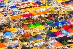The city's night marketMultiple colours of Bangkok's night market aerial view