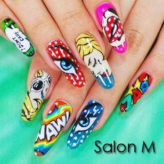 アメコミ風ポップネイル #ネイル #nail #nailart #naildesign http://www.salon-m.co.jp/
