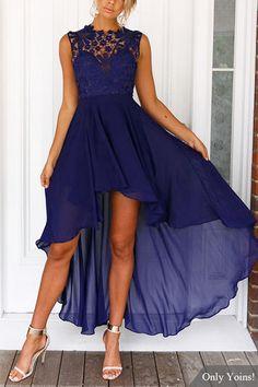 Lace Embroidery Sleeveless High-waisted Irregular Hem Dress  from mobile - US$37.95 -YOINS