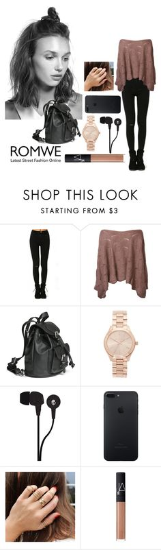 """Black Skinny Ripped Black Denim Pants - ROMWE"" by inesfragosa on Polyvore featuring Michael Kors, Skullcandy and NARS Cosmetics"