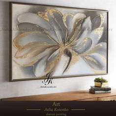 Flower Painting Gold Leaf Art Wall Art Canvas art Oil painting Textured painting Paintings on Canvas Original by Julia Kotenko - pretty - Oil Painting Texture, Texture Art, Abstract Canvas, Canvas Wall Art, Artwork Wall, Canvas Canvas, Art Sur Toile, Gold Leaf Art, Gold Art
