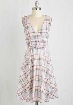Beguiling Beauty Dress in Lilac Plaid. When you sport this lilac plaid dress to your next soire, all eyes are sure to be on your fashionable form! #purple #modcloth