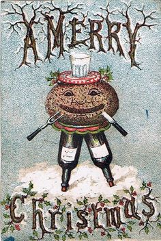Vintage card: Christmas Pudding - Tim-Burton-style trees, fork and knife stuck in the face and worst of all: meat ball!