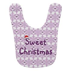 Snowflake heart pattern in purple-lavender color / Sweet Christmas Baby Bib. Click on the item to purchase. Also check out this link for free coupon offers to get it cheaper! https://www.zazzle.com/coupons?rf=238298069376789985&tc=pin