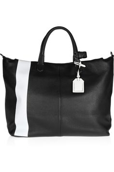 Love the racing stripe look.  Reed Krakoff|Gym Bag II Oversized two-tone leather tote| $1490
