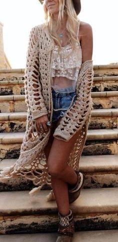 Romoti Cute Lady Crochet Hollow Tassel Cardigan