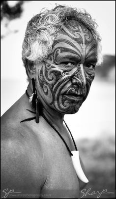 Maori Face © Sharp Photography New Zealand I decided to look at face tattoos from prison to tribal tattoos Maori Tattoos, Ta Moko Tattoo, Face Tattoos, Maori Face Tattoo, Tattoo Ink, Samoan Tattoo, Polynesian Tattoos, Grey Tattoo, Sleeve Tattoos