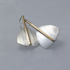 Silver and Gold Earrings by cyndiesmithdesigns on Etsy