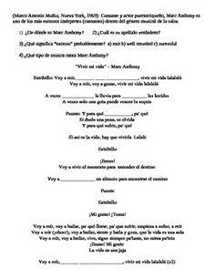 Marc Anthony Vivir mi vida CLOZE song lyrics fill-in Spanish activity ir a infinitive ir+a+infinitive -ar verbs present tense beginner beginning español worksheet handout reading comprehension music salsa cultura communications standards foreign language