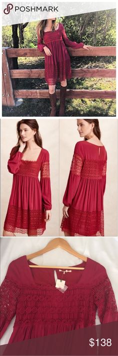 """Anthropologie Floreat Peasant Dress Brand new with tags! Floreat for Anthropologie stunning Crimson lace dress with billowing sleeves that gather at wrist. Dress is lined. Dress and lining are viscose and rayon. Lace is polyester. Length 35.5"""". Flat bust measurement pit-to-pit 15.5. Anthropologie Dresses"""