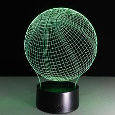 Tennis Lamp Visual Light Effect Touch Switch & Remote Control Colors Changing Night Light table lamp (Basketball) Desk Light, Light Table, Planet Lamp, Basketball Design, Kuroko's Basketball, 3d Optical Illusions, Led Night Light, Night Lights, Color Changing Led