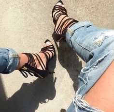 Denim. Strappy sandals. Love.