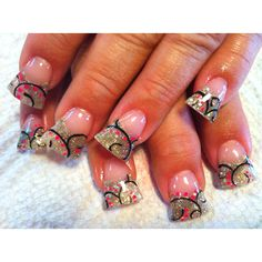love the design for short nails too. silver glitter backdrop, black swirl filigree design and hot pink dot accents