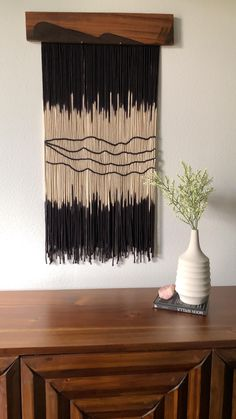 Modern wall art by artist J. Yarn Wall Hanging, Tapestry Wall Hanging, Modern Wall Art, Mid-century Modern, Macrame Art, Black Decor, Decoration, Wood Art, Dip Dyed