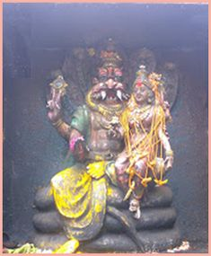 Pataladri A unique feature here is that, in this temple devotees can worship the third eye of Ugra Narasimha Swamy. It is a very thrilling experience to witness the priest lifting the Naamam on the forehead of the Lord, beneath which the third eye is seen. It is said that if one gets to worship the third eye of the Lord, all miseries get destroyed.  The Garbhagriha is a cave and the Moolavar is part of the hillock itself.