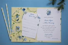 Louise & Chris bespoke chinoiserie pocketfold wedding invitation with yellow and blue florals Unique Wedding Invitations, Wedding Stationery, Chinoiserie, Summer Wedding, Bespoke, Rsvp, Yellow, Blue, Florals